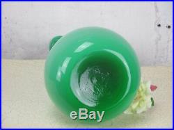 Vintage L Green Cased Glass Genie Bottle Decanter Decorative Funky Vase