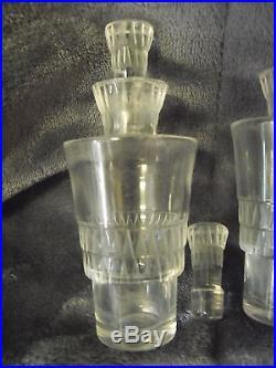 Vintage Lalique Oil & Vinegar Crystal Decanter Set, Signed, Mint Cond