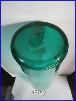 Vintage Large Blenko Blue Green Art Glass Bottle Decanter With Stopper 32 Inches
