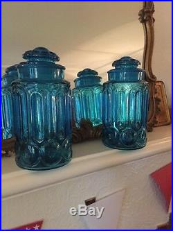 Vintage Large Blue Apothecary Jars 10.5 Tall With Lid Pair Decor Two