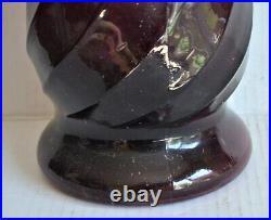 Vintage Large GENIE BOTTLE Purple Swirl Amethyst Glass Decanter Empoli Italy