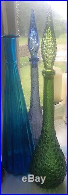 Vintage Lilac Mauve Wax Drip MCM Italian Empoli Genie Bottle Decanter Glass
