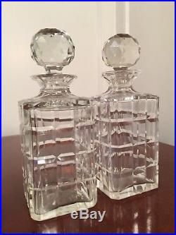 Vintage Lot of 2 Square Cut Crystal Glass LIQUOR WINE DECANTERS with Liquor Tags