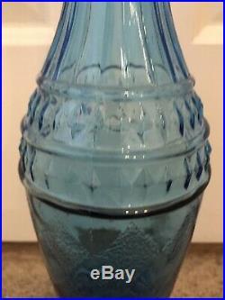 Vintage MCM Tall Aqua Genie Bottle Decanter, Diamond Pattern Unique