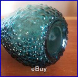 Vintage MID Century Empoli Italian Peacock Blue Bubble Genie Bottle Decanter MCM
