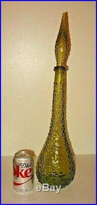 Vintage MID Century Empoli Olive Green Bubble Glass Genie Bottle Decanter 22