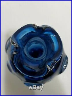 Vintage MURANO COBALT BLUE WINE DECANTER VASE RARE Italian ART GLASS