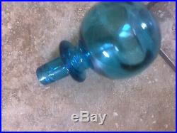 Vintage Made in Italy Glass Decanter Genie Bottle Empoli Blue 23