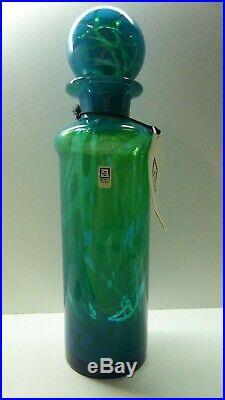 Vintage Mdina Art Glass Decanter Bottle Original Tag Stickers Numbered