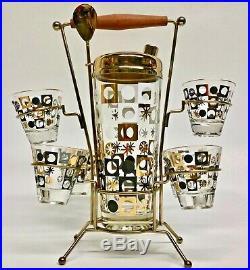 Vintage Mid Century Barware Black Gold Atomic Shaker Shot Glasses Caddy Set