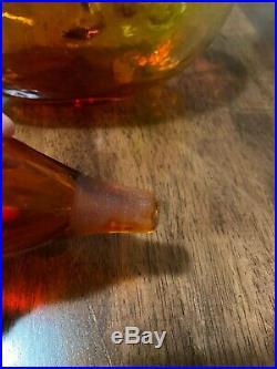 Vintage Mid Century Blenko Bumpy Decanter #6310 Amberina Color Beatiful