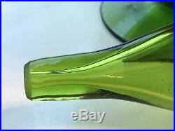 Vintage Mid Century Modern Blenko 6212 Decanter Husted Green