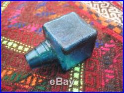 Vintage Mid Century Modern Empoli Cube Blue Decanter Glass Italy MCM