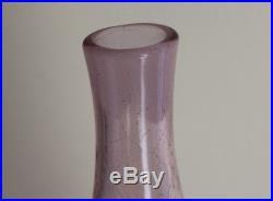 Vintage Midcentury Blenko Pink Crackle Glass 16.75 Decanter #920 with Stopper