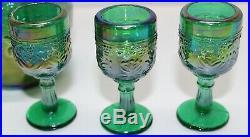 Vintage Mini Miniature Carnival Glass Lotus Fenton Encore Decanter Goblet Set