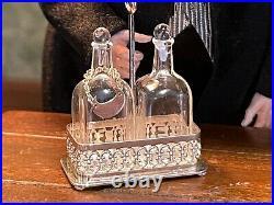Vintage Miniature Dollhouse Sterling Silver John Parfitt Glass Bottles Tray