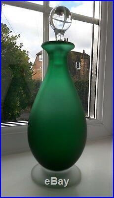 Vintage Murano Carlo Moretti green'Satinato' art glass decanter C1960's