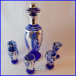 Art Glass Bohemian/czech 4 Glasses Retro Italian Italy Silver Overlay Venetian Art Glass Decanter