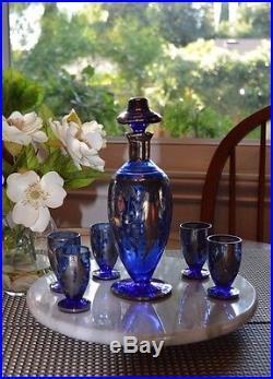 Vintage Murano Cobalt Blue Decanter Glass Cordial Set Silver Overlay Barware
