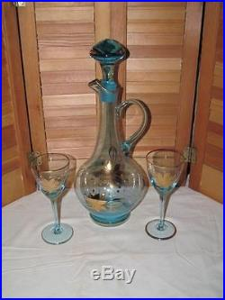 Vintage Murano Glass Wine Decanter WithTwo Blue Wine Glasses With Gold Overlay