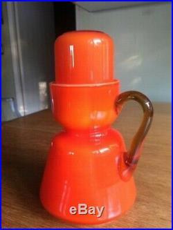 Vintage Murano Orange Color Carafe And Cup