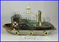 Vintage Musical Boat Tugboat Decanter Music Box Bar Set Shot Glasses Japan RARE
