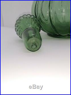 Vintage Olive Green Glass Genie Decanter Bottle 12 3/4 Glass Stopper