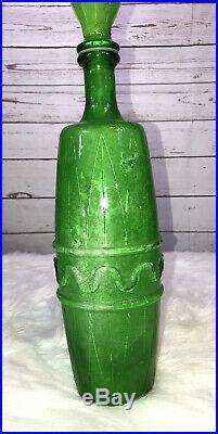 Vintage Ornate Neon Green Uranium Glass Decanter With Stopper, Vaseline Glass