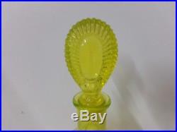 Vintage Ornate Uranium Glass Decanter with Stopper Vaseline Glass
