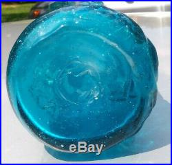 Vintage Our Lady of Guadalupe Holly Water Mexican Blue Glass Bottle decanter