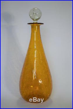 Vintage Pilgrim Art Glass #21 Orleans Amber Crackle 15.5 Decanter