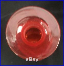 Vintage Pilgrim CracKle Glass Decanter Partial Label 17-3/4 Mid Century Modern