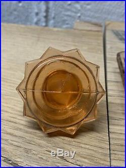 Vintage Pink Glass Decanter Set Liquor 6 Shot Glasses Home Decor Cup