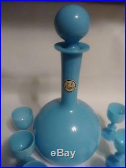 Vintage Portieux Vallerysthal Blue Opal Decanter Set