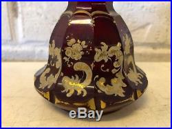 Vintage Possibly Antique Bohemian Czech Glass Painted Miniature Decanter