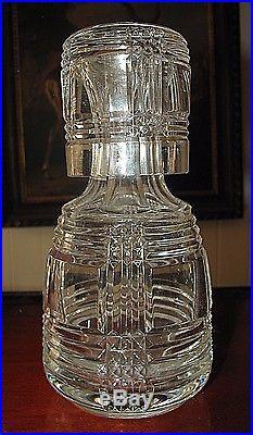 Vintage RALPH LAUREN Glen Plaid Crystal BEDSIDE Water Decanter with Glass (carafe)