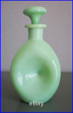 Vintage Rare Jadeite Green Milk Glass Skokie Pinch Decanter Mckee Glass Co