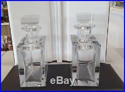Vintage Rectangular Shape Crystal Glass Liquor Decanter set of two