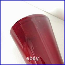 Vintage Red Italian Empoli Genie Bottle Glass Hand Blown Decanter 1960s