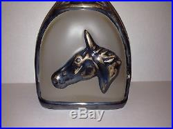 Vintage Rockwell Sterling Silver Glass Decanter Bottle Western Horse Spur Buckle
