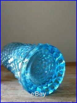 Vintage Rossini Empoli Blue Glass Genie Bottle Decanter Diamond Pattern 21