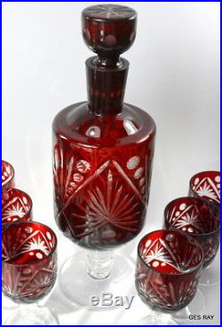 Vintage Ruby Red Cut to Clear Bohemian Czech Crystal Decanter & 6 glasses set