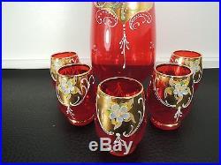 Vintage Ruby Red Gild Decanter Set Of 5 Pcs Cups Venetian Murano Enamel Glass