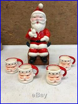 Vintage Santa Claus Decanter & 4 Shot Glass Mugs Set