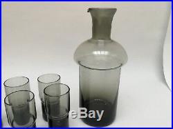Vintage Scandinavian Mid Century Modern Smoke Glass Mushroom Decanter/Cordials