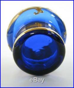 Vintage Set 7 Liqueur Cup Decant Czech Bohemian Cobalt Blue Handmade Crystal