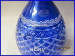 Vintage Sorelle Cobalt Cut to Clear Wine Decanter with 4 Glasses