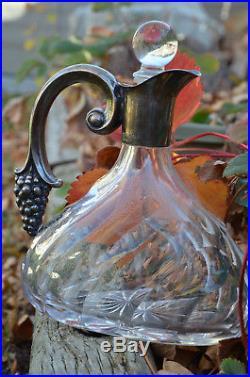 Vintage Sterling Silver & Cut Glass Crystal Grape Motif German Wine Decanter