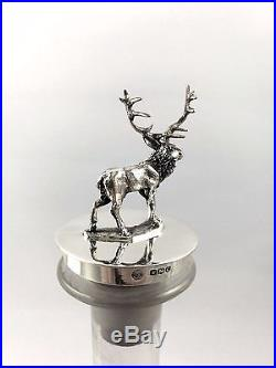 Vintage Sterling Silver & Glass Stag Decanter Sheffield 1950