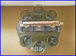 Vintage Tantalus Decanter Set Mid Century Modern Bar Caddy with 8 Glasses & Lock